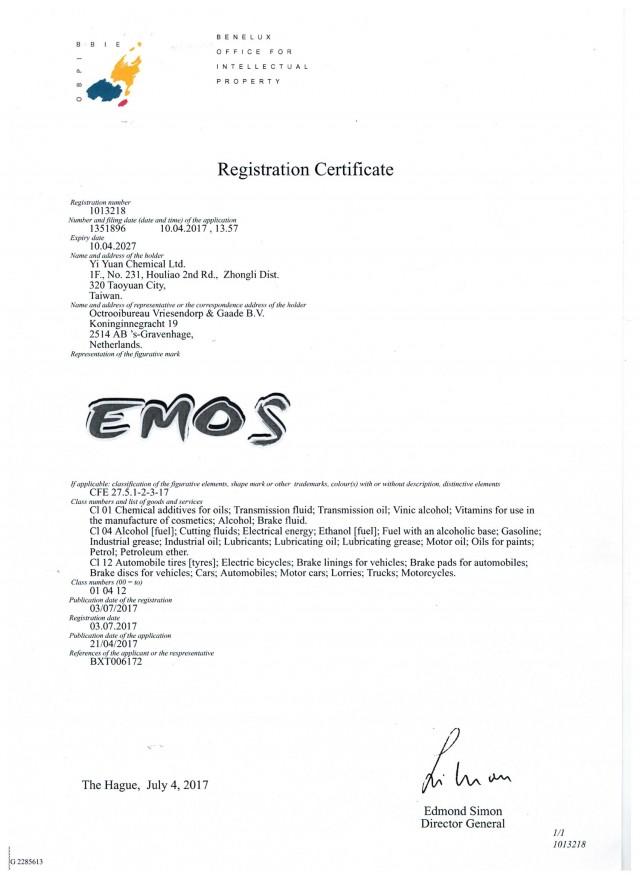 Netherlands, Belgium, Luxembourg registration certificate